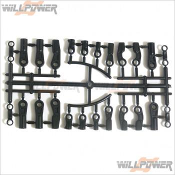 HongNor Plastic Rod End * 1set #X3-50 [X3 SABRE/X3-GT/X3-GTe/X3e SABRE]