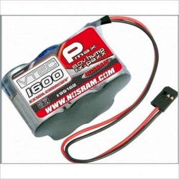 NOSRAM NOSRAM P-MAX VTEC 1600EC Extra Capacity RX-Pack Futaba 6.0V-1600mAh-Hump, 99162 #99162