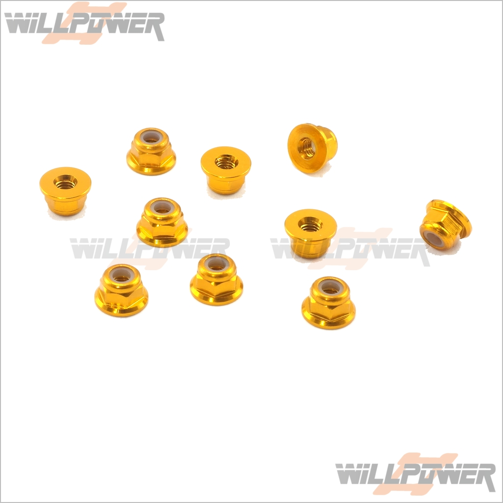 Gold  #WH-020 10 Pcs Special  RC Aluminum Lock nuts 3mm Flange