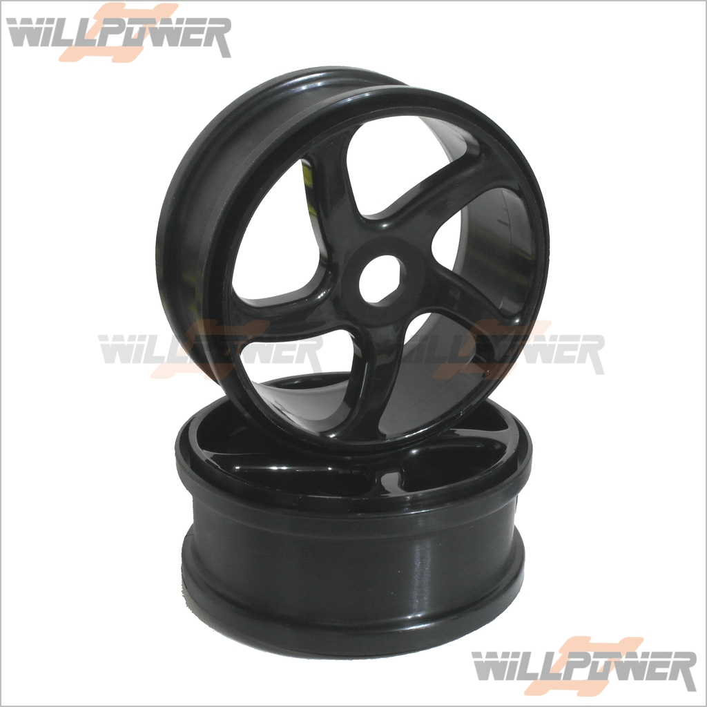 Details about Hyper 7 Parts 5 Spoke Wheel * 2 (Black) #87095B  (RC-WillPower) Hobao OFNA Buggy