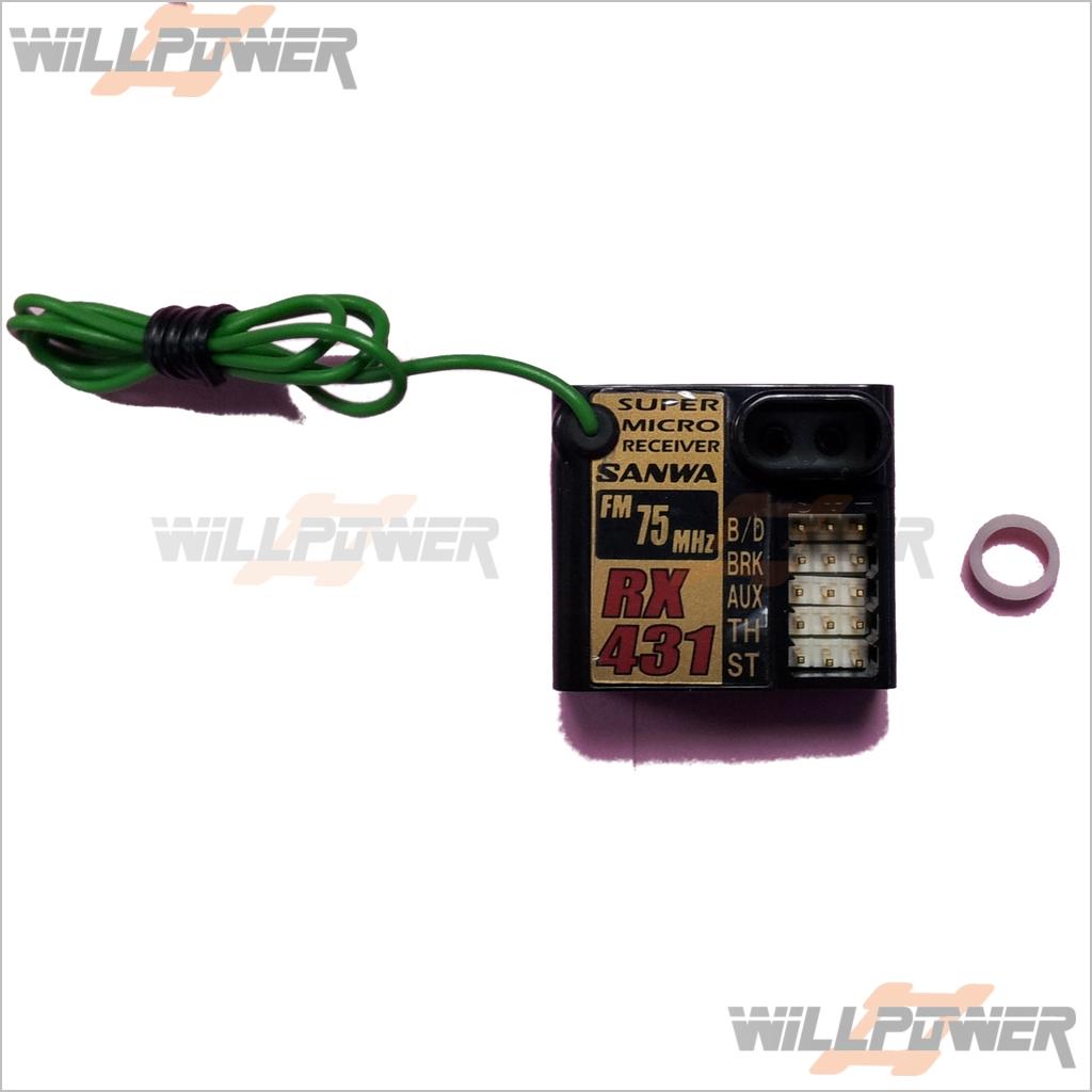 SANWA Micro FM 75 MHz Receiver  RX-431  RC-WillPower  Airtronics 4ch M11 MX-3S