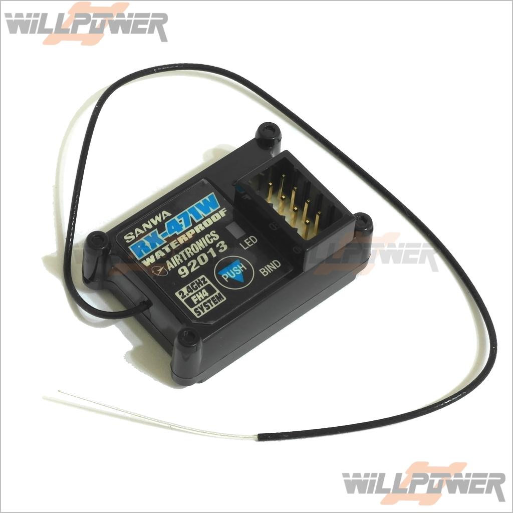 SANWA RX-471W 4ch FHSS-4 Receiver  RX-471W (RC-WillPower) 92013 Waterproof