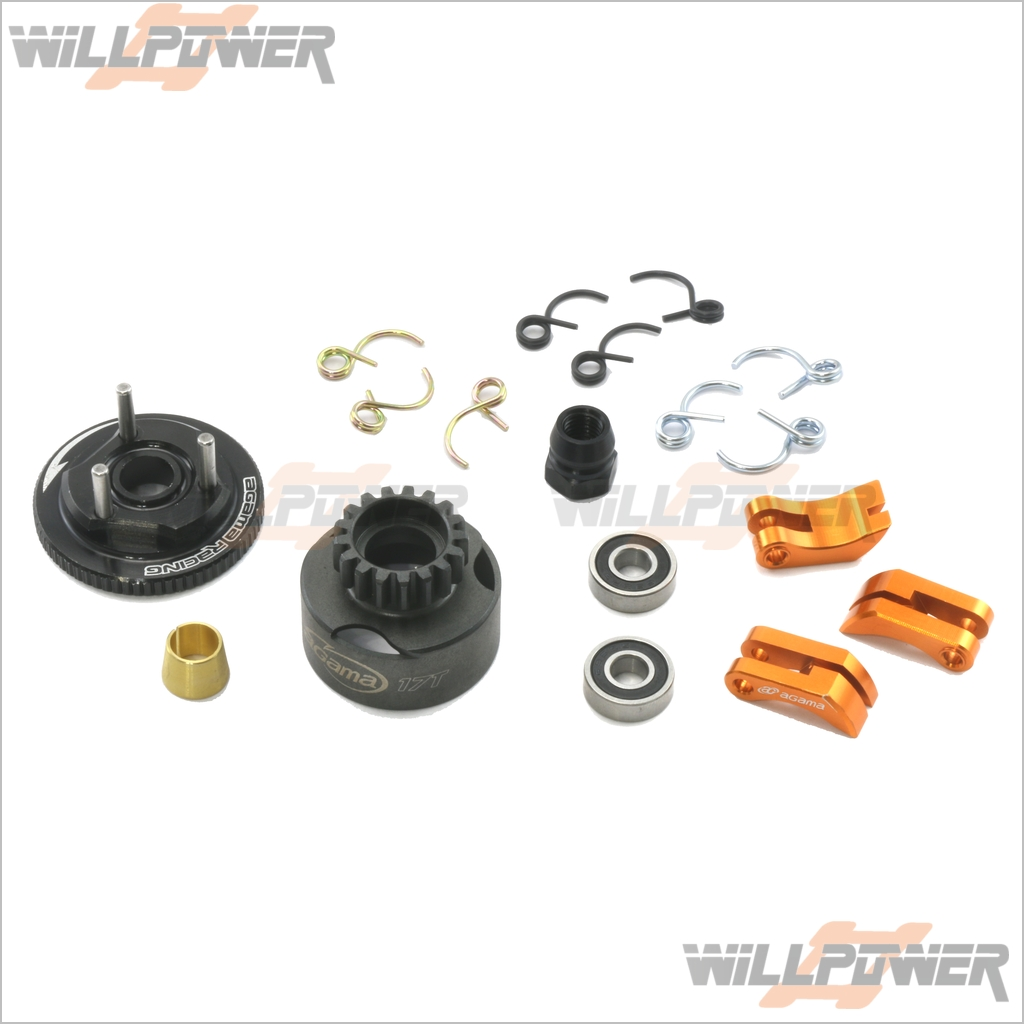 Clutch Bell 17T + shoes + Flywheel (RC-WillPower) Agama A215 A8 A8T