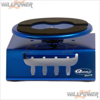 Q-World Car Stand, Alum W/Bb Top Blue #QW-2620H