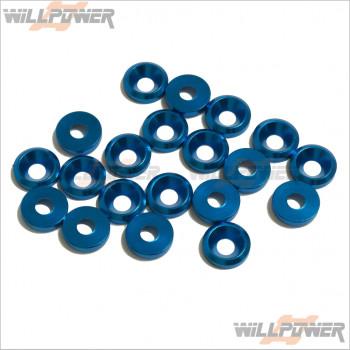 Q-World Aluminum 3mm Countersink Washer Blue (20 pcs) #QW-311A [Countersunk Screws] [RC Screws]