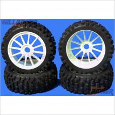 G.V. Model Rally Tires NR + 12 Spoke Wheel White + Foam w/Glue