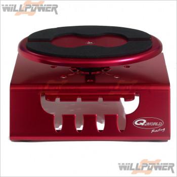Q-World Car Stand, Alum W/Bb Top Red #QW-2620H