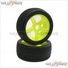 1/8 On-Road Tires + 10 Spoke Wheels + Inner Sponge (Glued) 2pcs