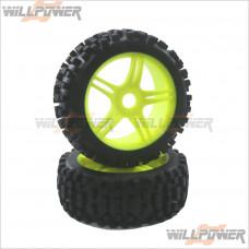 1/8 Rally Tires NR + 10 Spoke Wheel Yellow + Foam Glued 2pcs